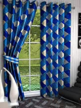 Srk Trendz 1 Piece Polyester Eyelet Curtain Window (Aqua Blue, 4 x 5)