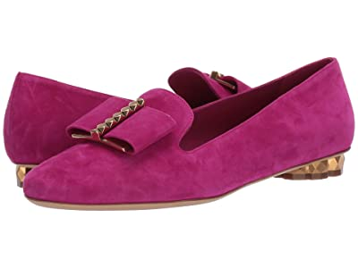 Salvatore Ferragamo Sarno Bow Loafer (Magenta Suede) Women