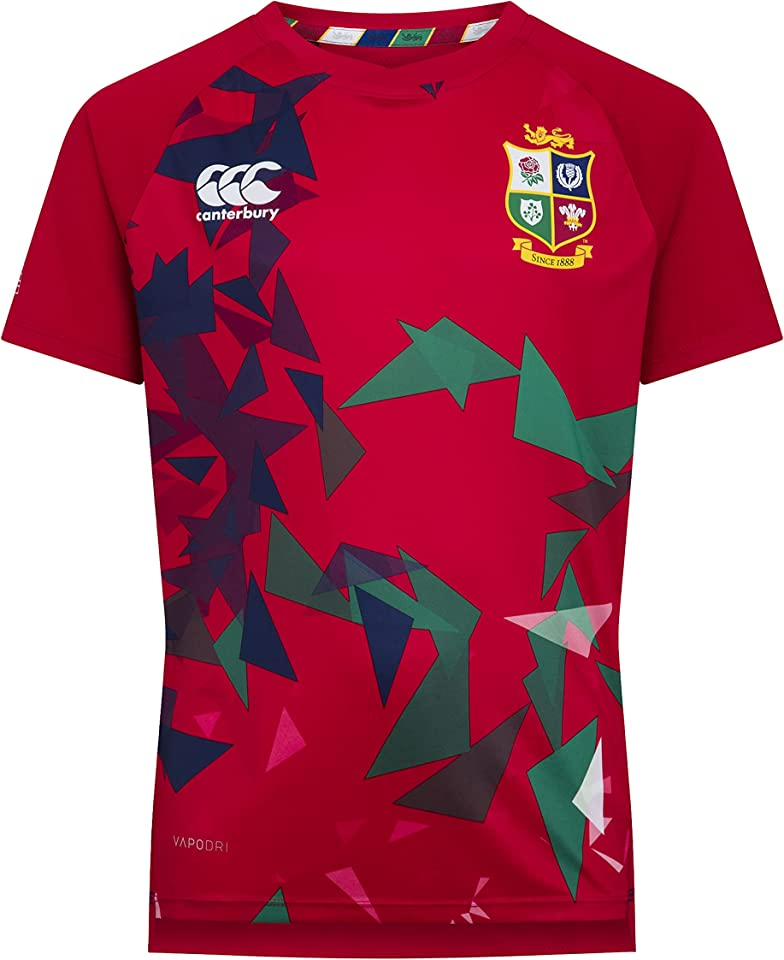 of New Zealand Unisex-Youth British and Irish Lions Rugby Superlight Graphic T-Shirt, Tango Red, 12