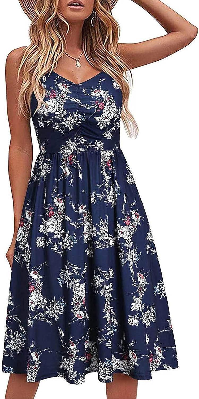 Summer Dresses for Women,Womens Summer V Neck Dress Strap Sleeveless Casual Party Beach Midi Sundress