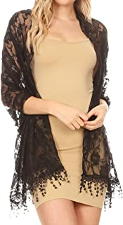 Sakkas Mari Women's Large Lightweight Soft Lace Scarf Wrap Shawl Floral and Fringe