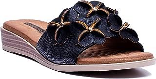 GC Shoes Women's Angela Rosette Memory Foam Flat Sandals
