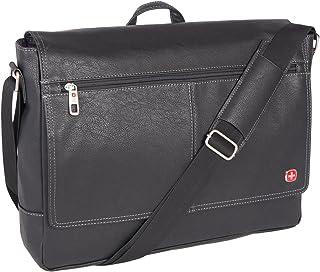 Swiss Gear Pebble Grain Faux Leather 15.6-Inch Messenger Bag, Black, International Carry-on