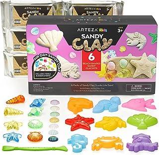 Arteza KidsAir-Dry Modeling ClayKit, 6 x 8-oz Packs, 12 SandyClay Moldsand 15 Assorted Sea-Life Beach Decorations, Sof...