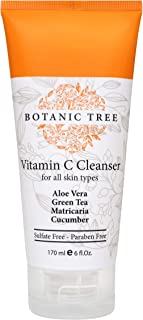 Botanic Tree Vitamin C Face Wash - Anti Aging Facial Cleanser w/ Organic Ingredients - Daily Skin Cleansing Formula Reduces Acne Breakouts, Blemishes, Wrinkles - Double Cleanse w/ Glycolic Acid Face Wash - 6oz