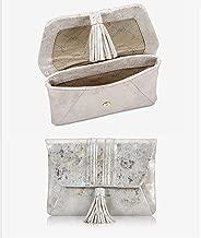 Gigi New York AVA CLUTCH Silver Brush Metallic