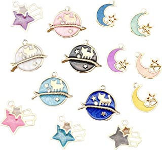 14 Pcs Cute Planet Moon Meteor Theme Floating Charm Pendant Enamel Sequins Dangle Gold Plated Dainty Ornament Synthetic Glass Living Memory for Necklace Bracelet Ankle Earring Jewelry Making