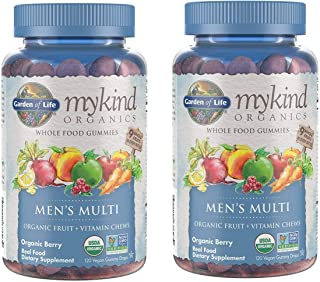 MyKind Organics Men's Multi Whole Food, Organic Vitamin Chews in Delicious Organic Berry (120 Vegan Gummy Drops) Pack of 2