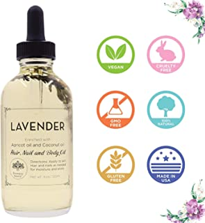 Lavender Scented Multi-Use Essential Natural Pure Oil for Face, Body & Hair - Hydrates Skin & Restores Hair's Natural Shine - Enriched w/Apricot Oil & Fractionated Coconut Oil - 4OZ. | Provence Beauty