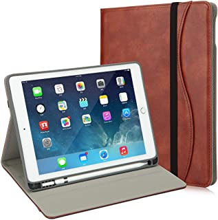 iPad 9.7 Case, Premium Leather iPad Cover with Pocket/Handle Strap, Soft Back Cover Built-in Pencil Holder for iPad 2018 (6th) - iPad 2017 (5th) - iPad Pro 9.7- iPad Air 2 & 1 (Brown)