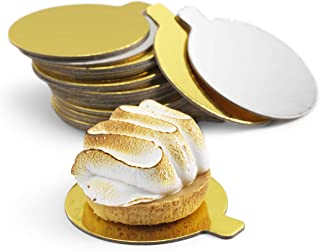 Mini Cake Boards   3.5 inch   Two-sided Silver & Gold Circle Base for Decorating Cakes & Pastries   Ideal for Party, Wedding, Catering & Restaurant   Pack of 100 - by Cuisiner