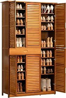 YzDnF Porte-Chaussures pour placards Chaussures Chaussures Support de Rangement Organisateur Tour Cabinet en Bambou Bois a...