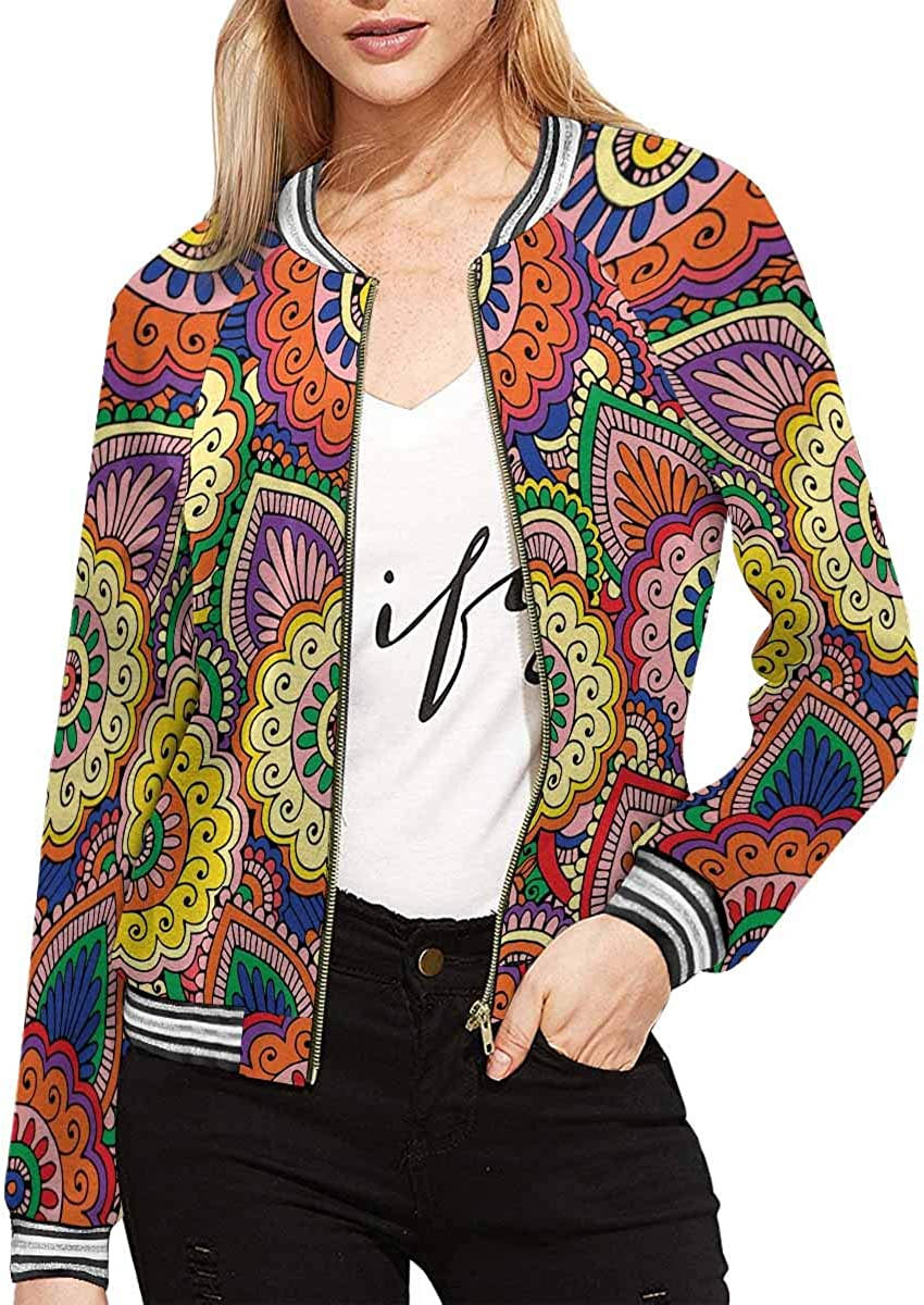 InterestPrint Women's Heart Music Background Long Sleeves Zippered Pockets Jacket