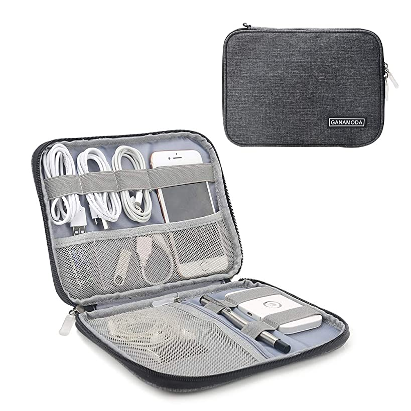 Electronics Travel Organizer, Gadgets for Men GANAMODA Small Bag tech Accessories Travel case Cord Organizer for Hard Drives Cables Charger,Dark Gray