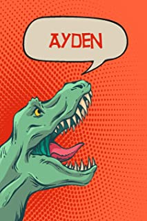 """Ayden: Personalized Dino Isometric DOT Paper notebook 120 pages 6""""x9"""""""