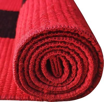 "USTIDE Cotton Buffalo Check Plaid Area Rug Red& Black Washable Porch Doormat 23.6"" x 35.4"""