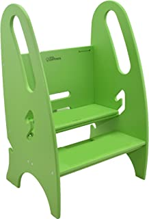 Little Partners The Growing Step Stool Adjustable Height Nursery, Kitchen or Bathroom Footstool - Wooden Non-Tip Design for Both Toddlers & Adults (Supports Up to 150lbs) (Apple Green)