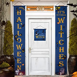 BioBio Halloween Decorations Halloween Porch Sign 3 pcs Treat Halloween Banner for Home Indoor/Outdoor Halloween Welcome Signs October Witches