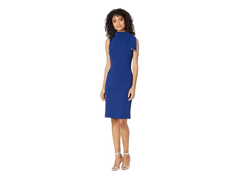 Badgley Mischka Tie Neck Sheath Dress (Sapphire) Women