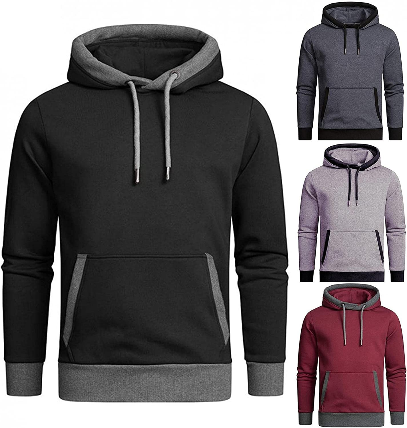 Men's Hoodie Solid Color Athletic Sweatshirt Casual Long Sleeve Drawstring Pullover Tops Gym Hooded Outwear with Pockets