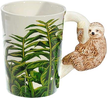 Preisvergleich für Close Up Faultier Tasse mit 3D Faultier am Henkel - weiß, Bedruckt, 100% Keramik, in Geschenkverpackung.