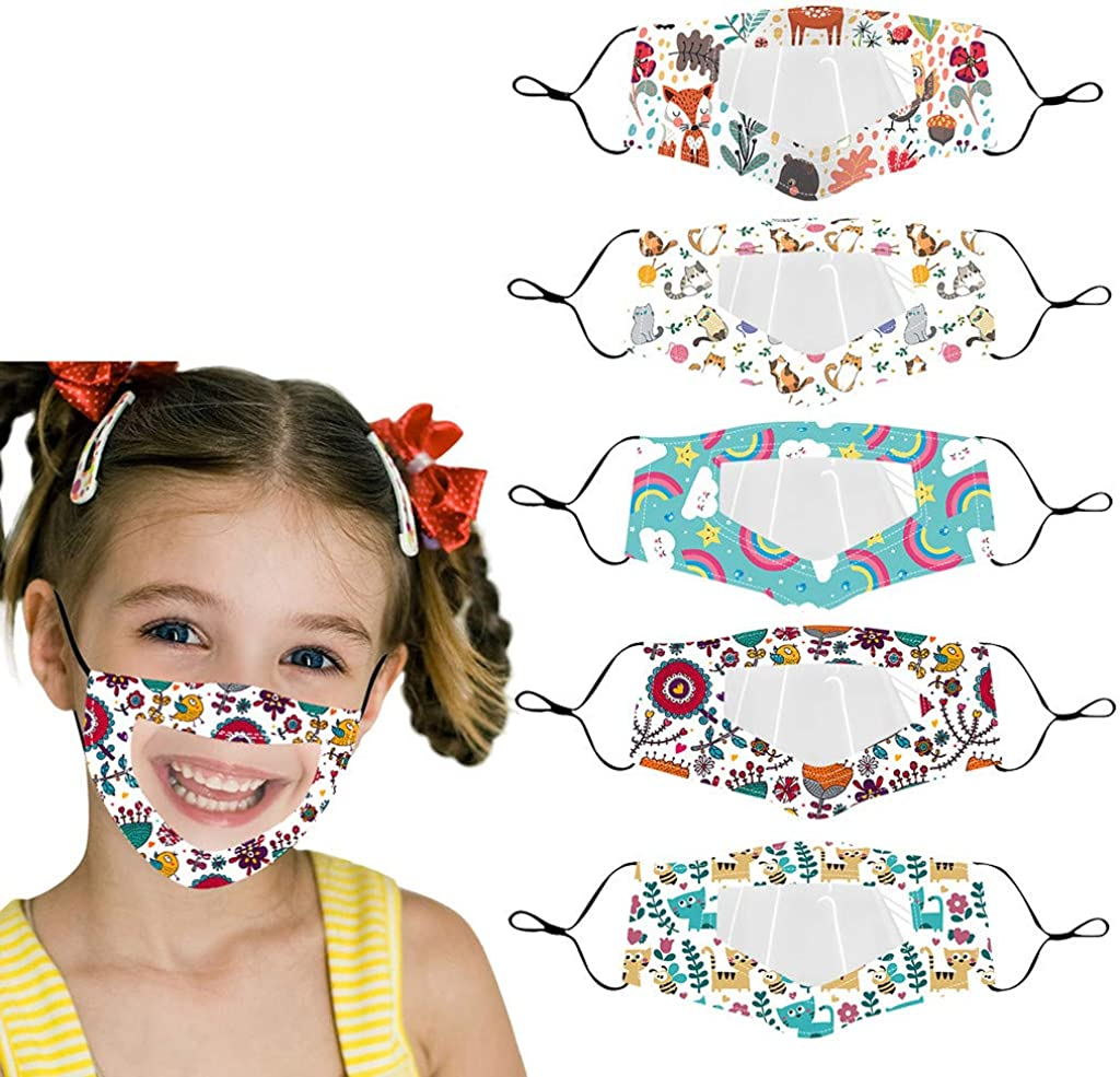 3 4 Branded goods 5PC Kids Reusable 5 popular Face_Masks -Dust Mask with Clear Window