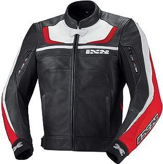 ISX Shertan chaqueta de piel Para Moto–black-red-white, Reino Unido 40