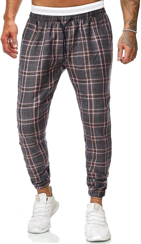 NEW iCODOD Mens Plaid Pants Wholesale Slim Elastic Drawstring Ribbed Waist Fit