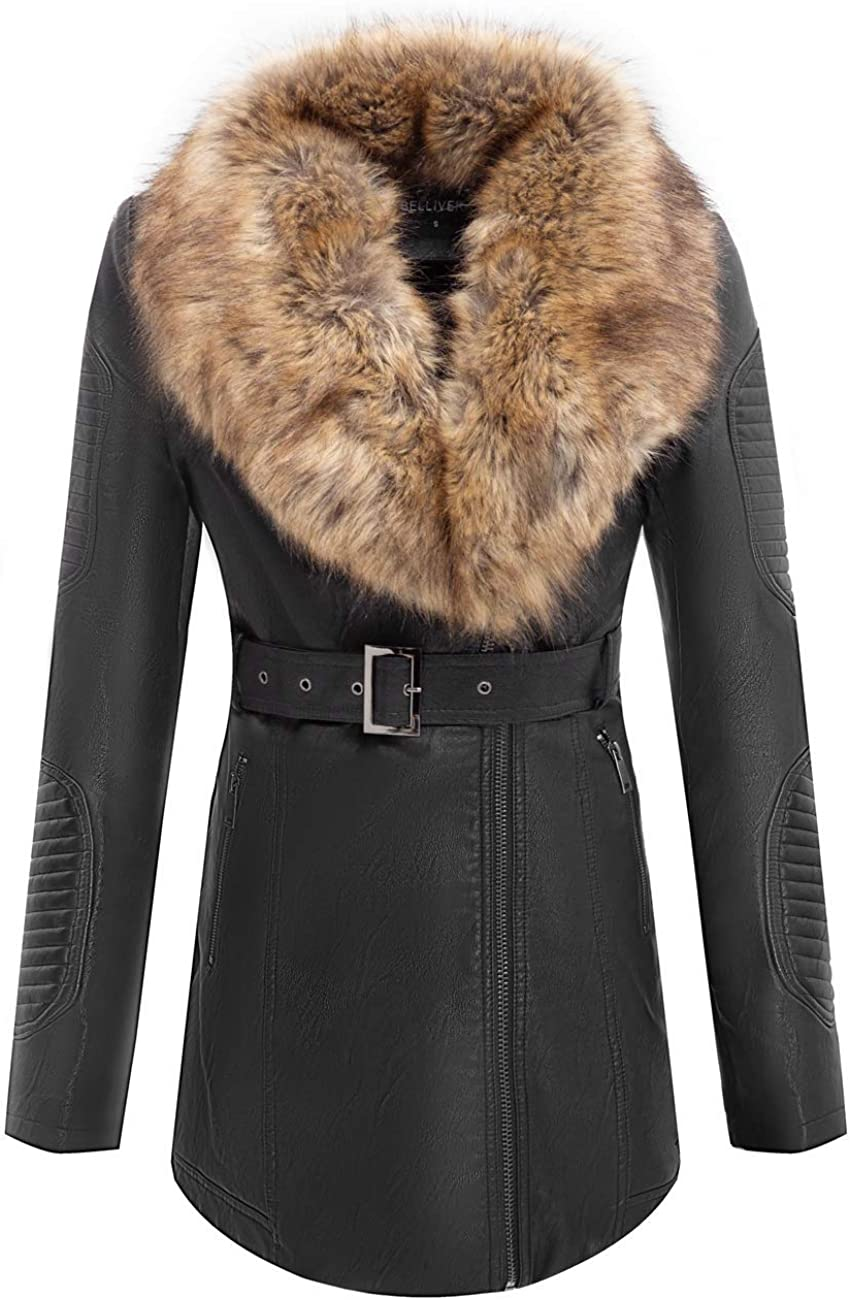 Bellivera Faux Leather Jackets for Women with Detachable Fur Collar
