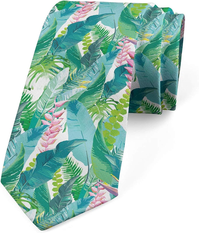 Ambesonne Men's Tie, Fern and Monstera Leaves, Necktie, 3.7
