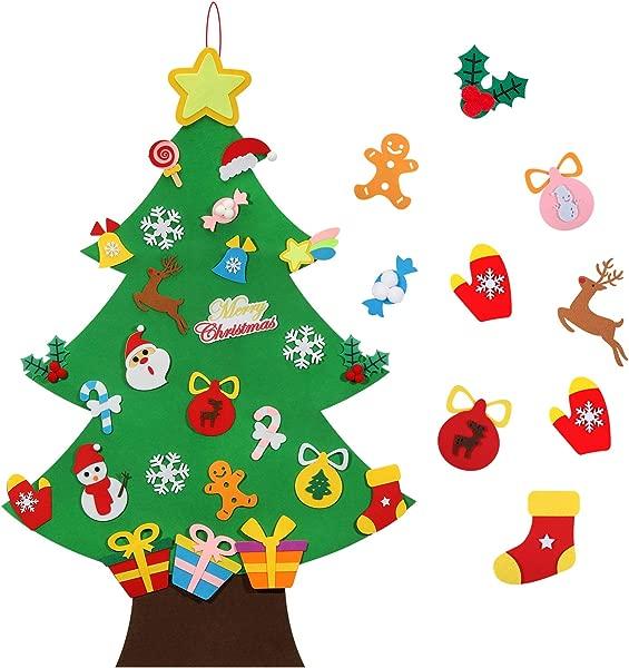 TOBEHIGHER 毛毡圣诞树 3 3D DIY 儿童套装 33 件装饰品壁挂圣诞树装饰品