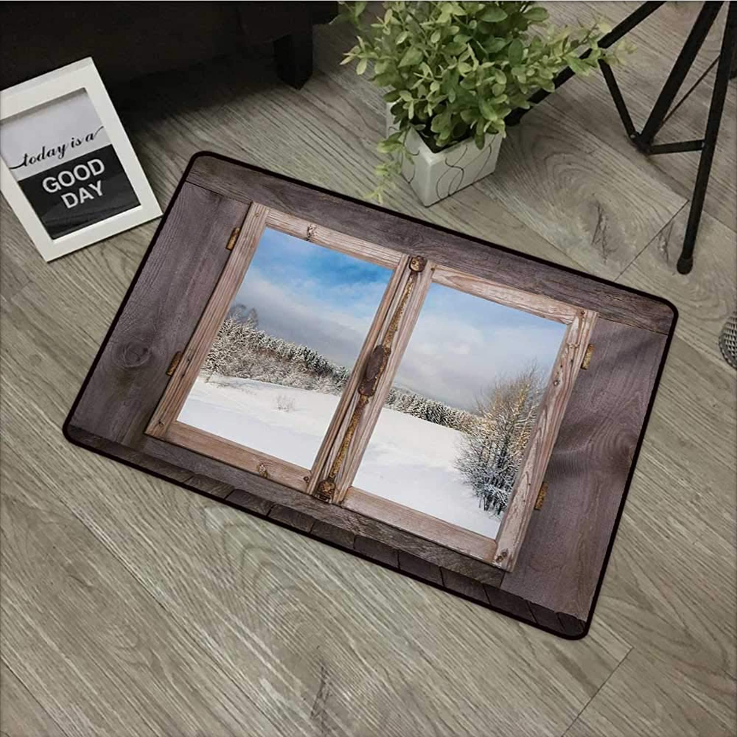 Corridor door mat W35 x L59 INCH Rustic,Winter Season Scene from a Wooden Window of Country House Snow Vintage Design,Umber White bluee Easy to clean, no deformation, no fading Non-slip Door Mat Carpet
