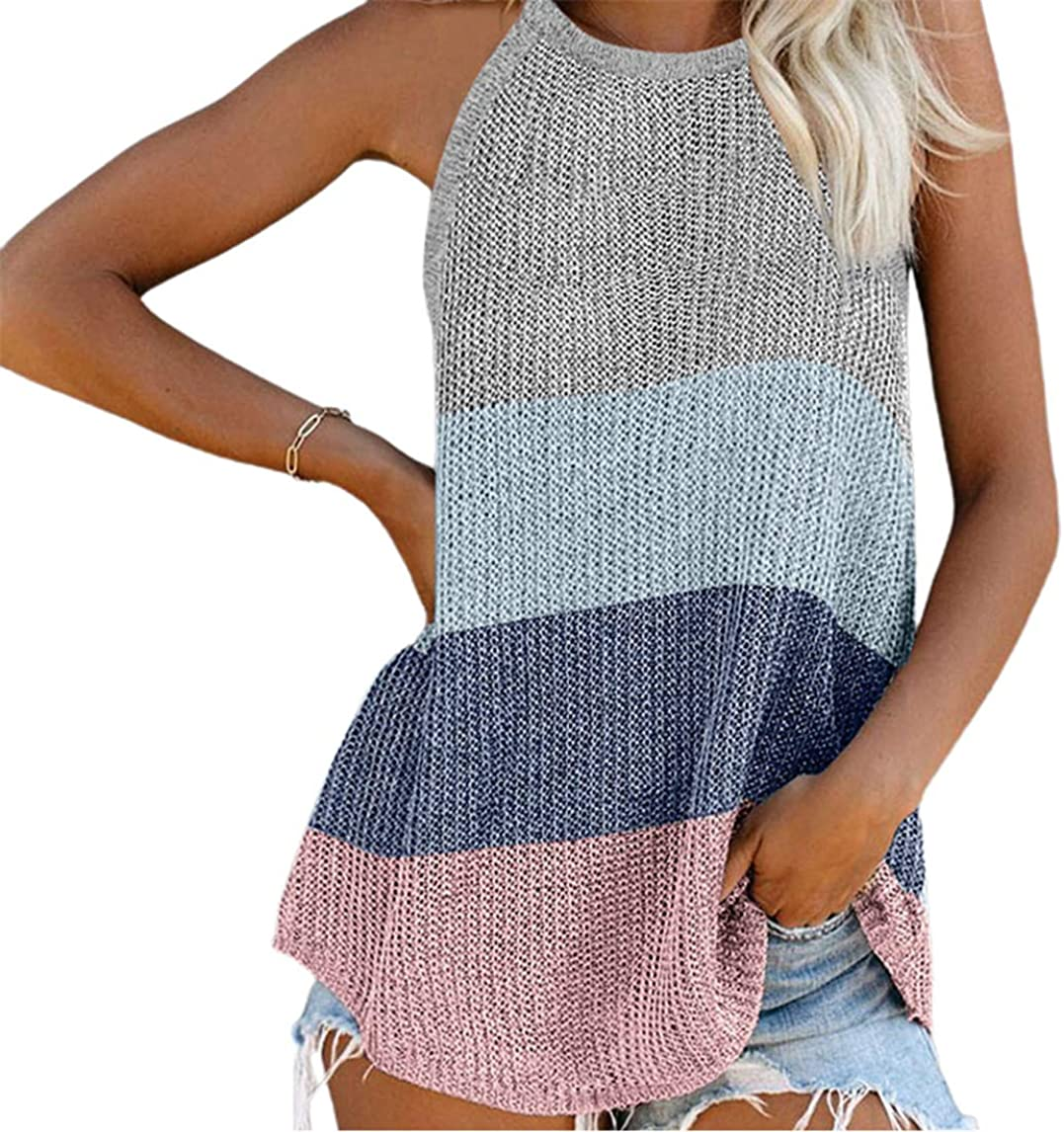 CHARTOU Women's Loose Halter Neck Color Block Sleeveless Knitted Vest Tops