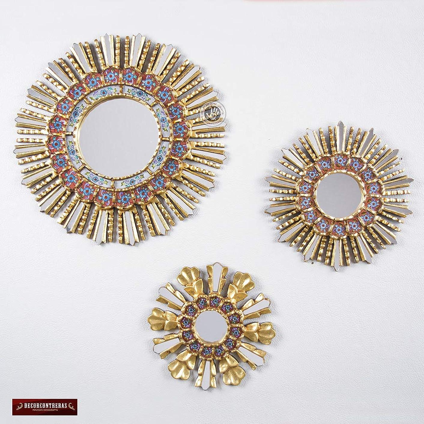 Peruvian Round Mirror Set 3, Sunburst Mirror set Wall Decor 17.7