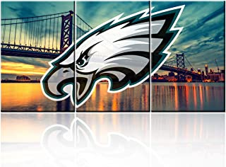 """TUMOVO Colorful Decor American Football Pictures for Living Room Philadelphia Eagles Logo Paintings Giclee 3 Piece Canvas Wall Art HD Prints Building Artwork Framed Stretched Ready to Hang(48""""WX24""""H)"""