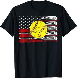 Vintage Softball American Flag Shirt 4th Of July Gifts T-Shirt