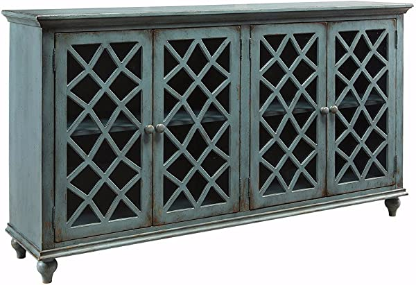 Ashley Furniture Signature Design Mirimyn 4 Door Accent Cabinet Antique Teal Finish Lattice Design Glass Inlay Doors