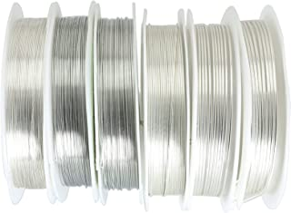 Lind Kitchen 6PCS Silver Jewelry Wire for Jewelry Making, 6 Different Sizes: 0.3mm/0.4mm/0.5mm/0.6mm/0.8mm/1.0mm, Copper W...