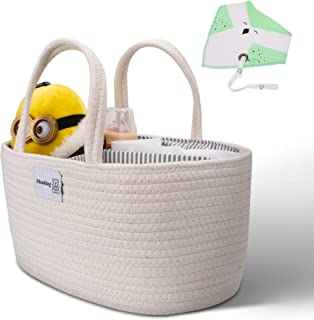 DINNKING Baby Nappy Caddy Organiser - Cotton Rope Portable Travel Bag for Newborn and Infant Essentials - Baby Wipes, Napp...