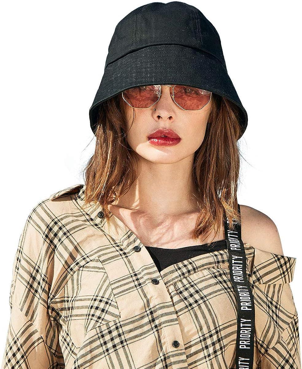 CACUSS Women's UPF 50+ Foldable Solid Color Bucket Hat 100% Cotton Sun Cap Summer Beach Sun Hat