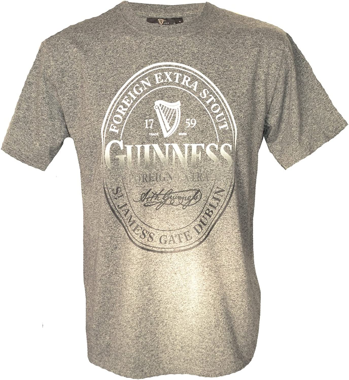 Guinness T-Shirt Foreign Extra Stout Bottle Label Print, Grey