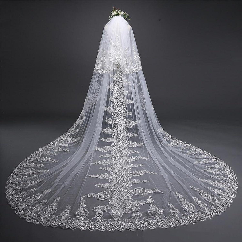 Bridal Veil 3Meter White Cathedral Long Edge Bride Veil with Comb Wedding Accessories Bride Mantilla Wedding Veils