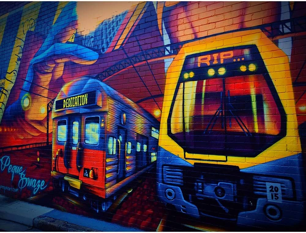 specialty shop City Tram Graffiti Jigsaw Puzzles - Challenging Puzzle wholesale Chi Adult
