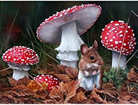 5D Full Drill Diamond Painting Kits for Adult Children Diamond Embroidery Dotz Art Craft for Home Wall Decor Mouse And Mushroom 15.7x11.8in 1 Pack By Ueyoo
