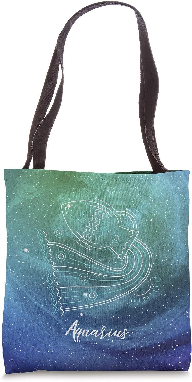 Aqua Teal & Purple Space Galaxy Star Sign Zodiac Aquarius Tote Bag