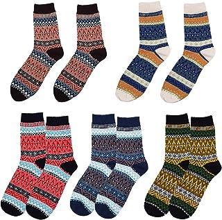 LLMZ, Calcetines de Lana 5 Pares de Calcetines Invierno Lana Calcetines de Punto de Estilo Vintage Grueso Cálidos