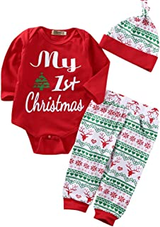 3PCS Babys My First Christmas Bodysuit Romper with Snowflake Pant and Hat Outfits