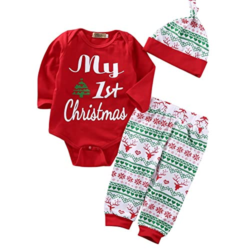 ONE'S 3PCS Babys My First Christmas Bodysuit Romper with Snowflake Pant and  Hat Outfits - Newborn Christmas Outfits Boy: Amazon.com