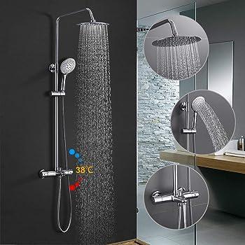 WOOHSE Sistema de ducha para bañera y ducha con mezclador, alcachofa cuadrada y 3 modos ducha de mano y flexo metálico de 1,5 m de longitud y soporte, altura regulable: 81-114,5cm, cromo: