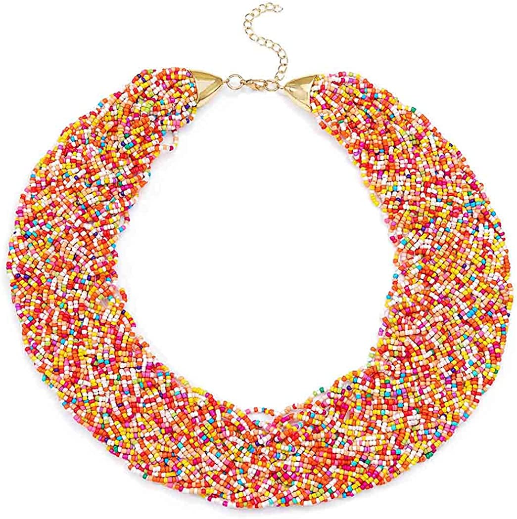 Yokawe African Ethnic Collar Necklace Colorful Bead Chunky Bib Statement Choker Necklaces Handmade Tribal Jewelry Set for Women